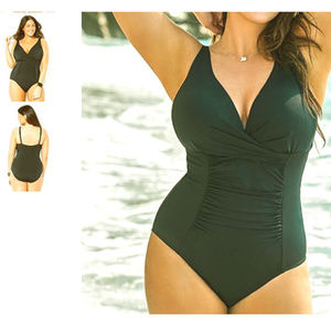 Swimsuits for all vneck twist ruched swimsuit 13c3